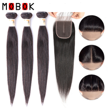 MOBOK Brazilian Straight Hair Bundles With Lace Closure 4*4 Human Extension Remy Weave with