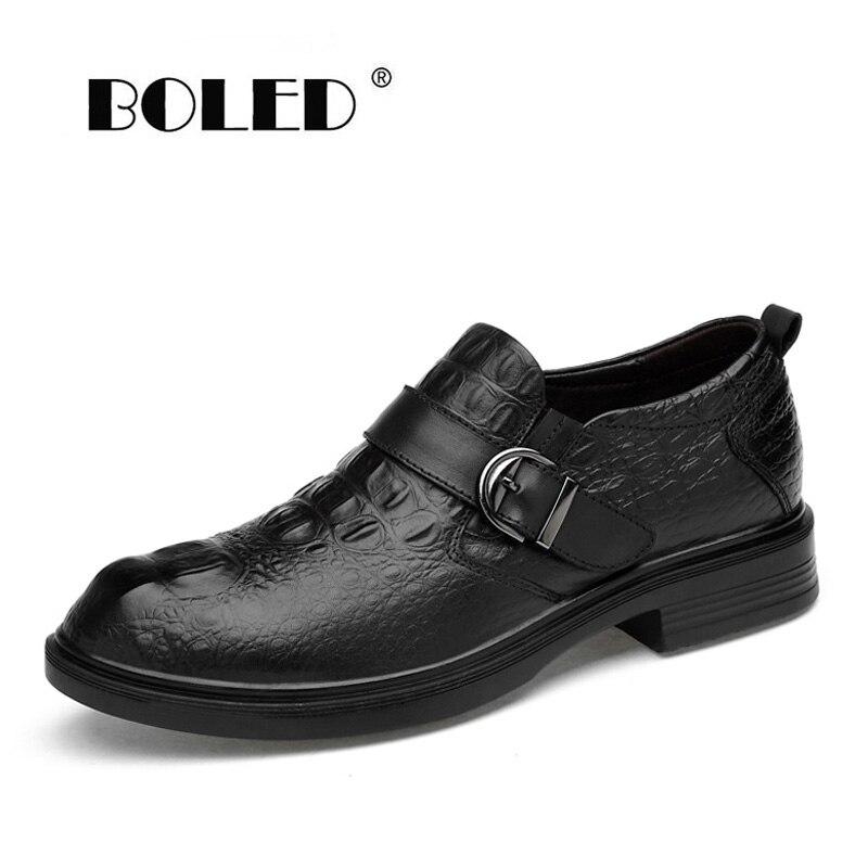 Top qualité en cuir véritable hommes chaussures confortable crocodile chaussures hommes chaussures plates chaussures habillées affaires oxfords livraison directe