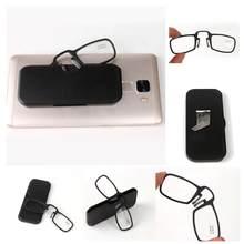 Mini clipe de nariz fino portátil óculos de leitura com suporte de telefone óculos caso mini carteira óptica eyewear + 1.0 1.5 2.0 2.5 + 3.0