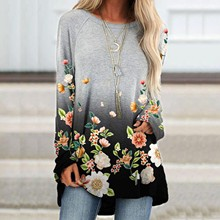 Butterfly Flower Print Oversized T Shirt Women T-shirt Long Sleeve Loose O-neck Harajuku Tops Frau T-shirts Athletic Wear Tunic