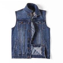 Plus Size 5xl 6xl 7XL Brand Military Denim Vest Men Outdoors Cotton Multi Pocket Sleevless Jean Jacket Tactical Waistcoat Coat