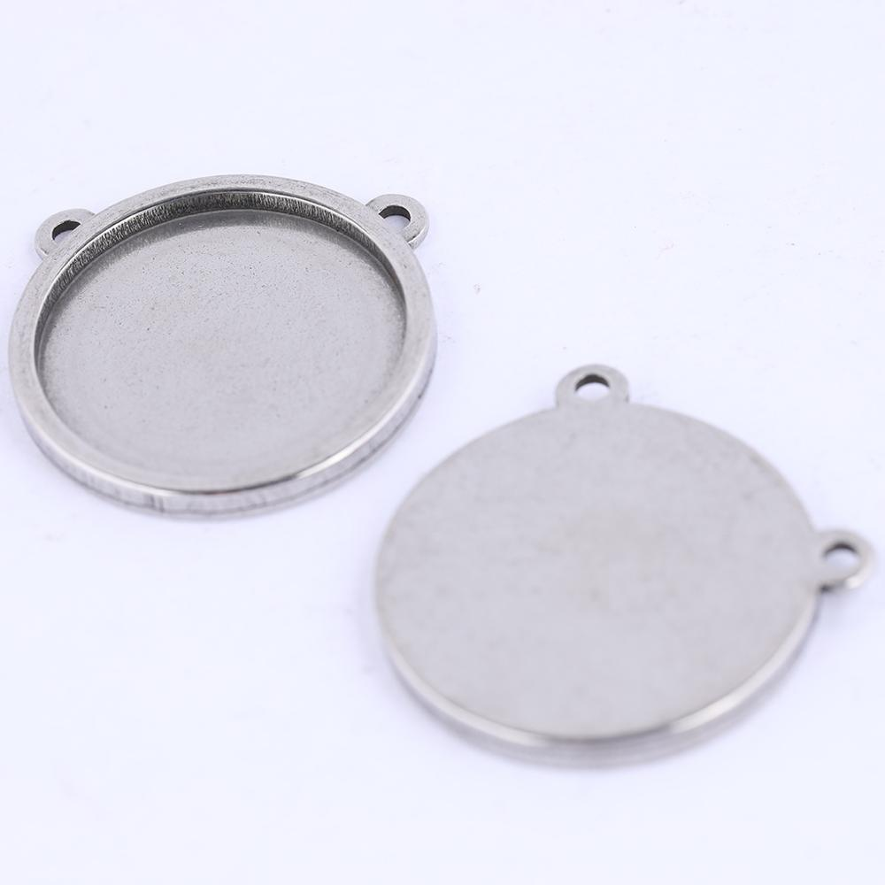5pcs Blank Cabochon Base 16mm 18mm 20mm Stainless Steel Cameo Pendant Tray Settings Diy Necklace Jewelry Making Bezels