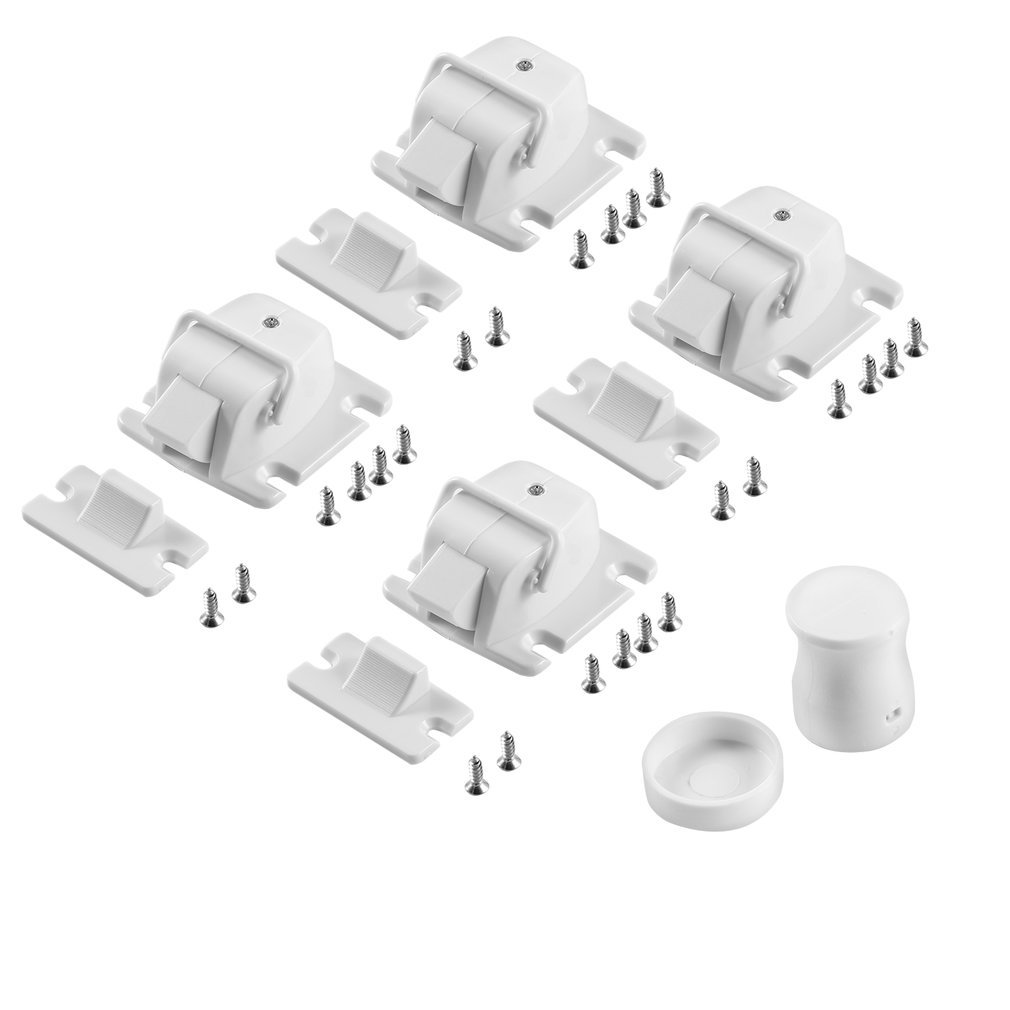 White Plastic Easy To Install Safety Baby Magnetic Cabinet Locks - No Tools Or Screws Needed (4 Locks + 1 Key)