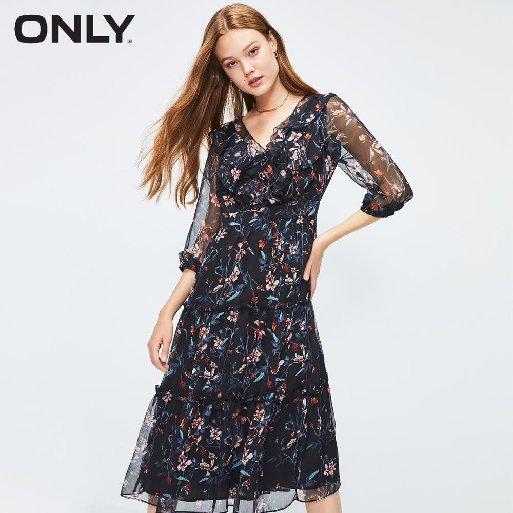 ONLY Women's Floral Ruffled Cinched Waist Chiffon Dress | 119307557