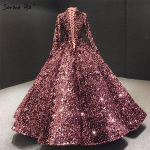 Image 5 - Serenhill robe de mariée musulmane rose, en paillettes, robe de mariée luxueuse, manches longues, scintillante, sur mesure, HA2068, 2020