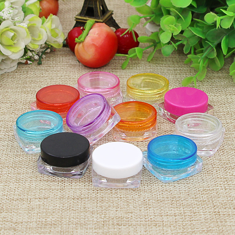 100Pcs Mini Cosmetic Bead Empty Jar Pot Nail Art Lip Balm Container Eyeshadow Makeup Face Cream Round Bottle Container