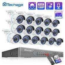 H.265 16CH 2MP 5MP POE NVR CCTV نظام الأمن 16 قطعة الأشعة تحت الحمراء في الهواء الطلق 1080P الصوت سجل IP كاميرا P2P طقم مراقبة الفيديو 4 تيرا بايت