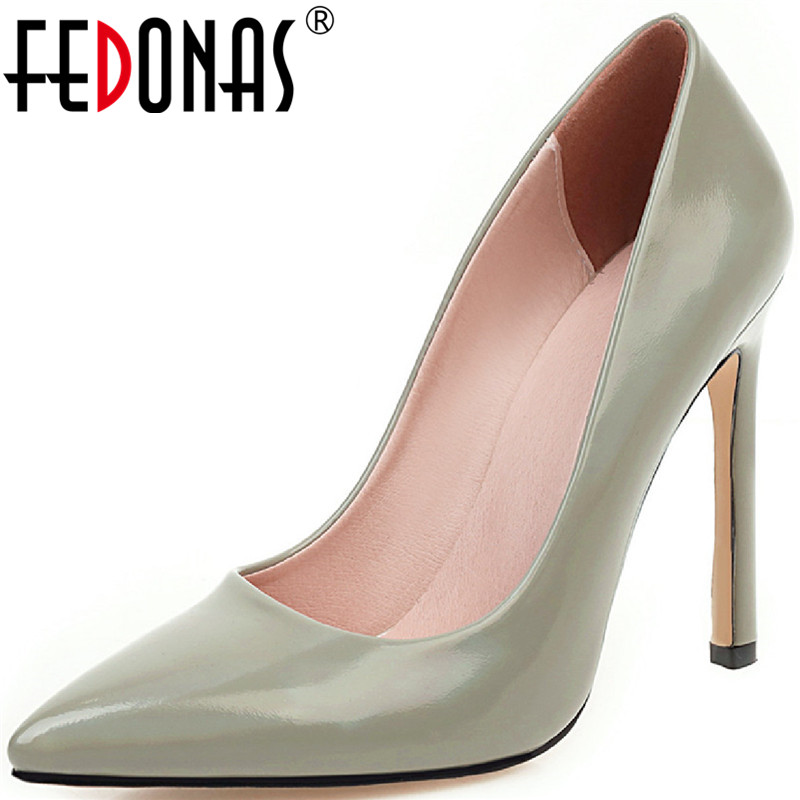 FEDONAS Patent Leather Pointed Toe Women Shoes Party Prom High Heels Pumps Concise Elegant Summer Autumn Sexy New Shoes Woman