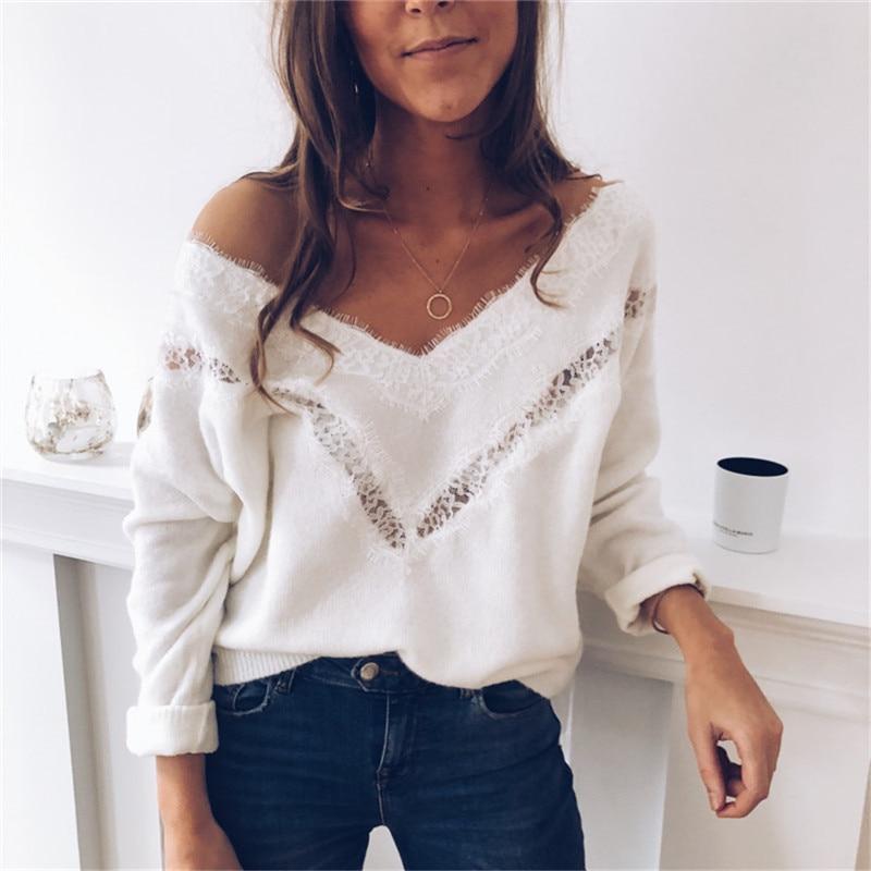 Lace Knitted Sweater Women Long Sleeve V Neck Knitwear Elegant Autumn Loose Top Ladies Truien Dames Fashion Streetwear