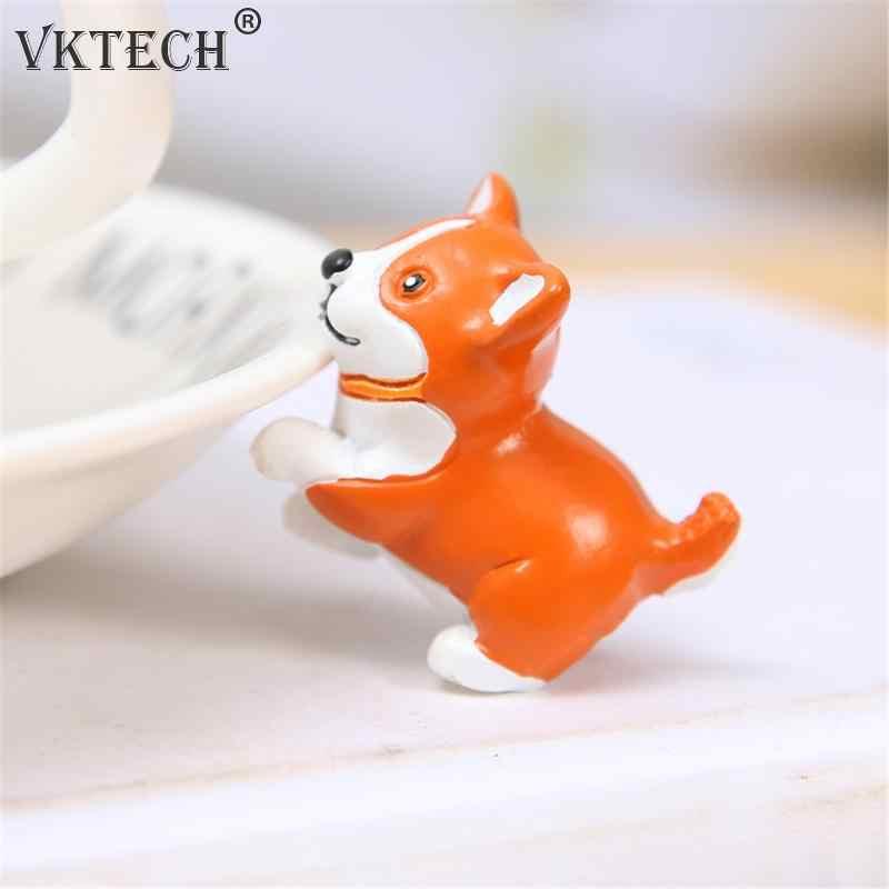 Cute Simulation Mini Dog Puppy Resin Ornaments Crafts Car Home Decoration Miniature Figurine Landscape Kids Gifts