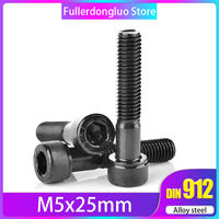 M5x25 50 Pcs Hex Drive Class 12.9 Black Oxide Finish Alloy Steel Socket Cap Screw ( m5 25mm m5*25 m5 x 25 )