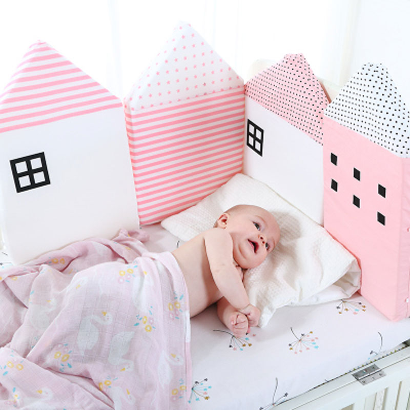 4Pcs/Lot Combination House Baby Bed Bumper Comfortable Protect Newborn Cot Around Pillows Baby Bumpers In The Crib