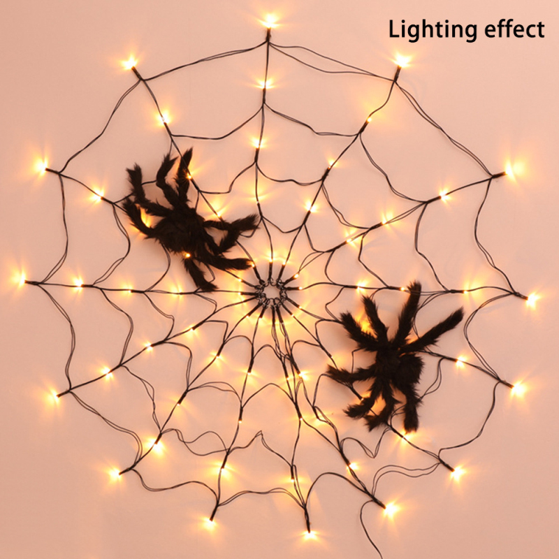 Halloween led aranha web string luz decoração
