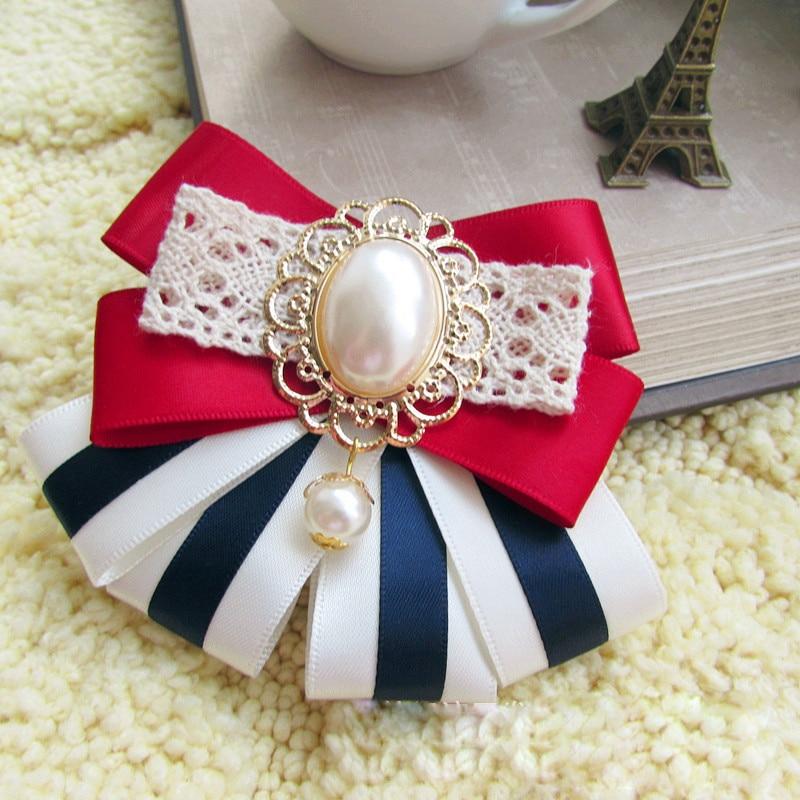 I-Remiel Camisas Mujer Rhinestone Ribbon Bow Tie Brooch Female Wedding Dress Woman Clothing Fashionable Shirt Collar Accessories