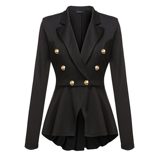 CINESSD Women Blazer Coats Notched Long Sleeves Double Breasted Metal Button Slim Casual Suits Jackets Solid Cotton Lady Blazers 3