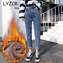 Vintage novio Harem invierno Jeans mujeres 2019 suelta mujeres alta cintura terciopelo pantalones vaqueros de lana cálido Mujer algodón
