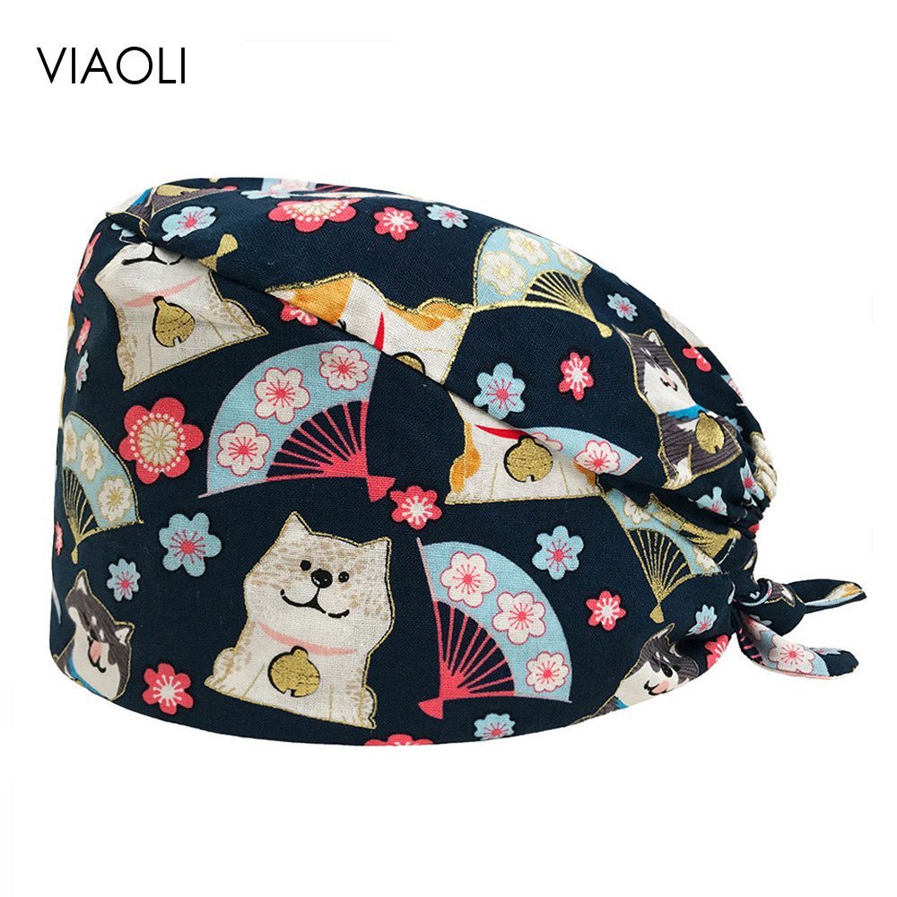 VIAOLI Men Women Medical Scrubs Pharmacy Work Cap Surgery Nurse Hat Oral Cavity Dental Clinic Pet Veterinary Surgical Cap042