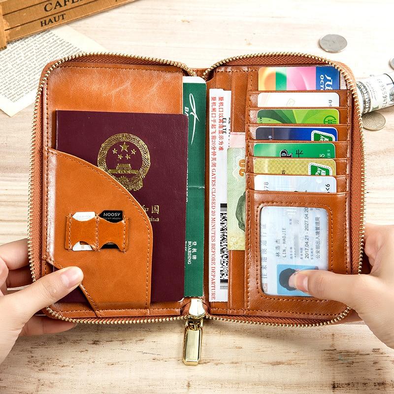 Marque en cuir véritable porte-carte pour passeport multi-fonctionnel hommes femmes haute capacité voyage Documents sac portefeuilles à glissière sac à main - 6