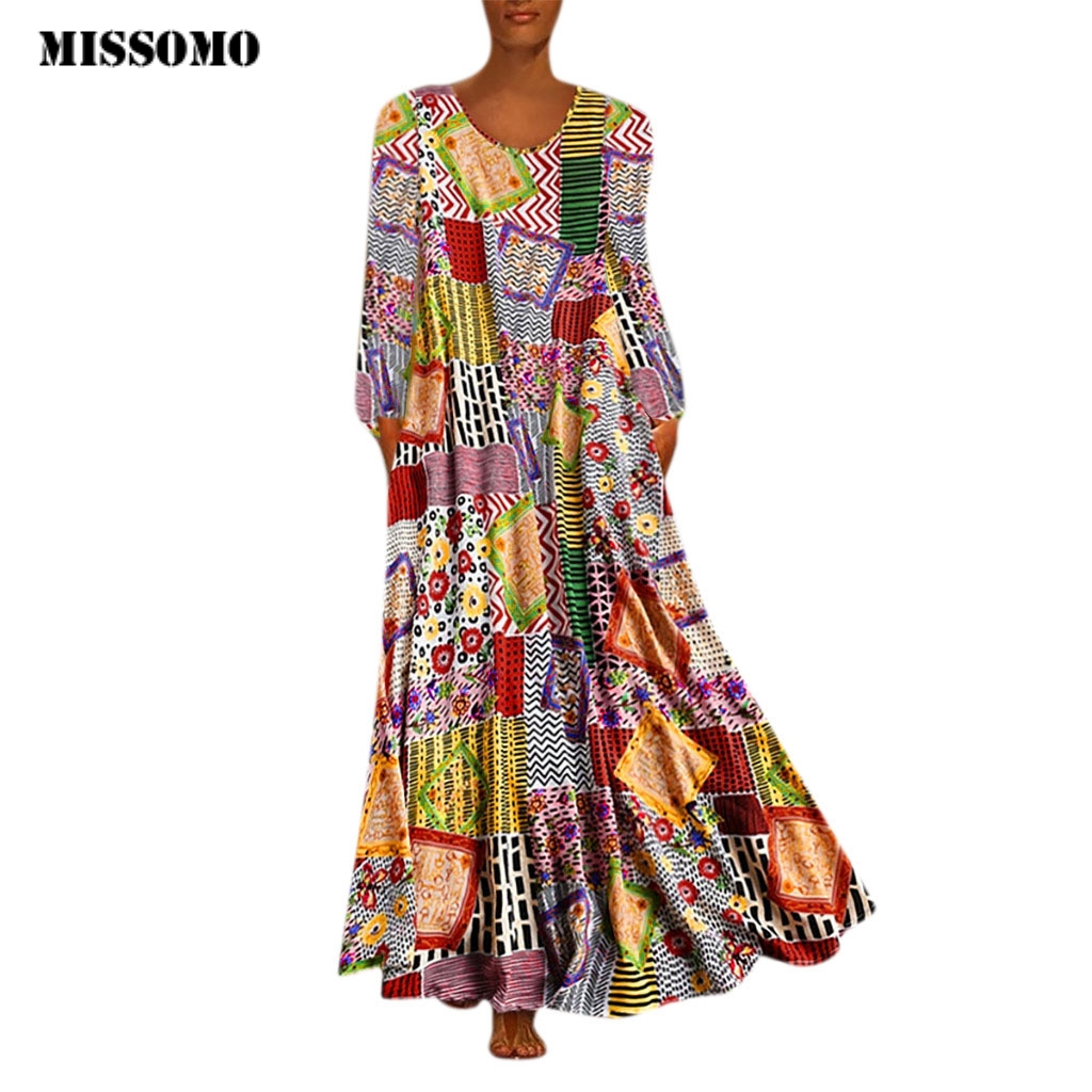 MISSOMO Maxi Dress Women Vestidos Vintage Print Floral Patch Dress Long Sleeve O-Neck Loose Long Dress Women Dresses Robe Femme