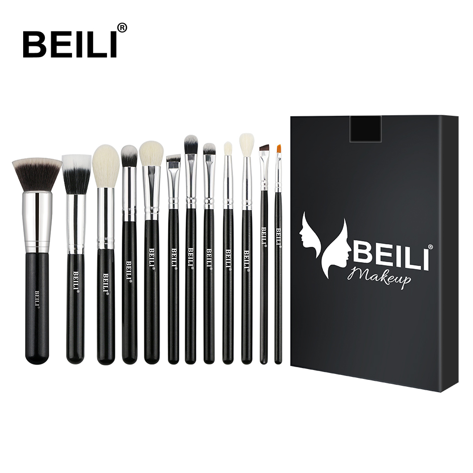BEILI Black Premium Goat Hair Wool Fiber Synthetic Liner Foundation Blusher Eye Shadow Concealer Makeup Brush Set Makeup Tools