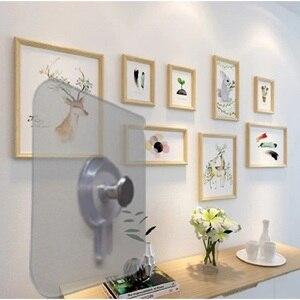Image 4 - Juego de 4 unidades de ganchos para colgar en la pared del baño, marco decorativo para fotos, ventosa fuerte para pegar en las uñas