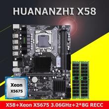 HUANANZHI X58 LGA1366 M ATX Bo Mạch Chủ Với Xeon CPU E5 X5675 3.06GHz Thương Hiệu Lớn RAM 16G 2*8G REG ECC Mua Máy Tính Máy Tính Phần DIY