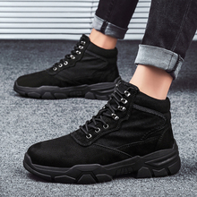Large Size Black Martin Boots Men Plus Cotton High Help Tooling Boots British Breathable Trend Men's Shoes Size 39-48 martin boots men 2018 new outdoor lovers boots high help tooling shoes british round head men s boots trend 10