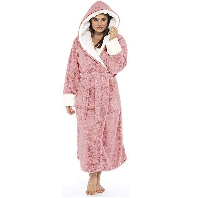 Women Winter Thermal Long Bathrobe Lovers Thick Warm Coral Fleece Kimono Bath Robe Plus Size Nightgowns Bridesmaid Dressing G#g2 2