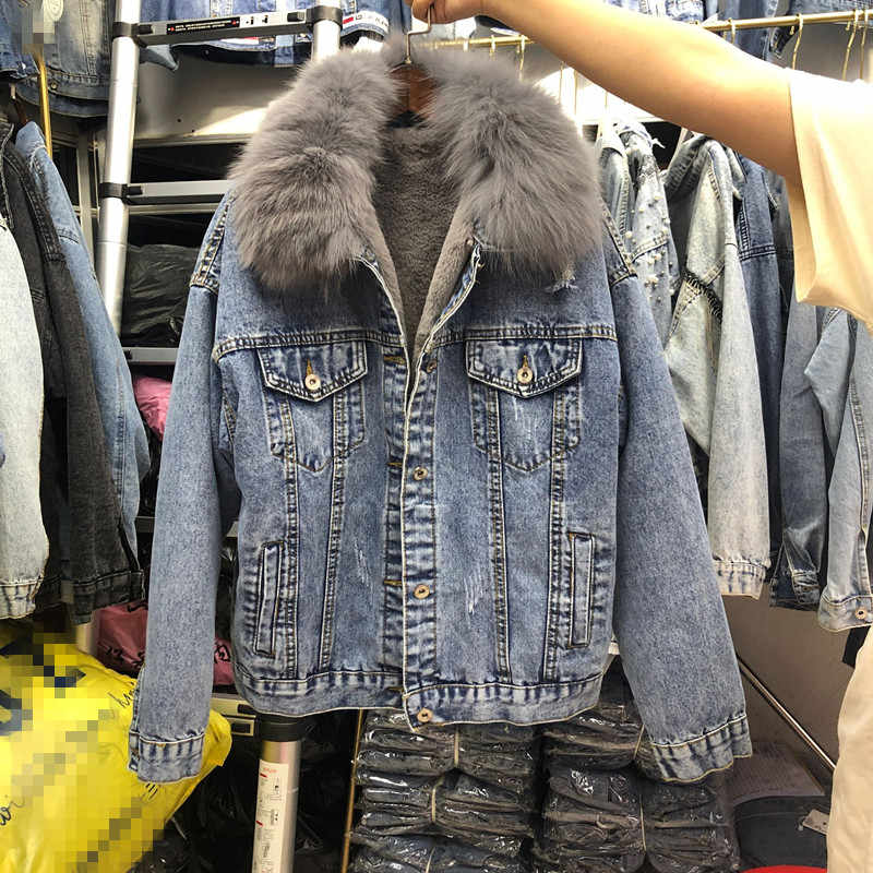 2019 Autumn and Winter New Thick Denim Jacket Real Fur Collar Plus Wool Liner Warm Coat Woman Jeans Jacket Outwear