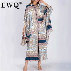 [EWQ] 2021 Spring Summer Lapel Three Quarter Print Patchwork Two Piece Set Women Sinlge Breasted Shirt Women Large Size 3AJ91510