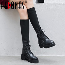 Fedonas 새로운 겨울 따뜻한 여성 무릎 높은 부츠 나이트 클럽 신발 여성 정품 가죽 뜨개질 긴 부츠 패션 승마 부츠