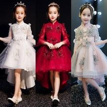 Детское платье принцессы Пышное трикотажное платье с цветочным рисунком для девочек, фортепиано костюм вечернее платье для девочек
