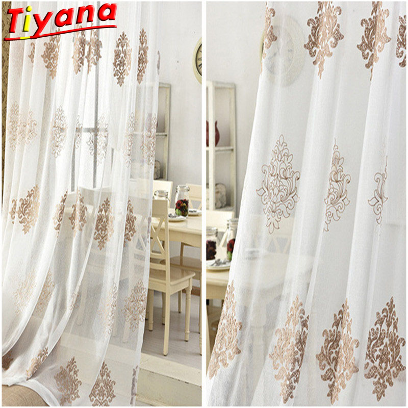 Modern art fancy white voile tulle valance decoration for living room bedroom balcony curtain floral European pattern  Su87 &15