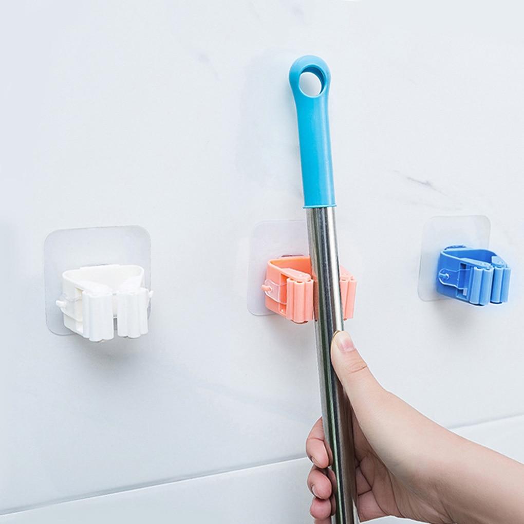 1PC Wall Mounted Mop Organizer Holder Broom Hanger Clip Home Goods Seamless Bathroom Home Kitchen Organizer Racks