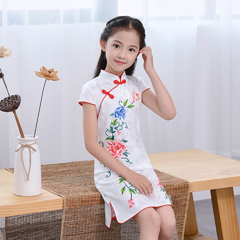 Chinese Kid Evening Party Wear Child Lovely Girl Cheongsam Dress Girls Qipao Cotton Dress New Year Gift Chinese Qipao Kids