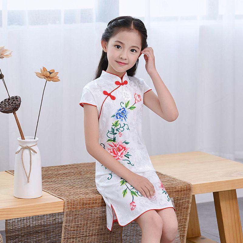 Chinese Kid Evening Party Wear Child Lovely Girl Cheongsam Dress Girls Qipao Cotton Dress New Year Gift Chinese Qipao Kids