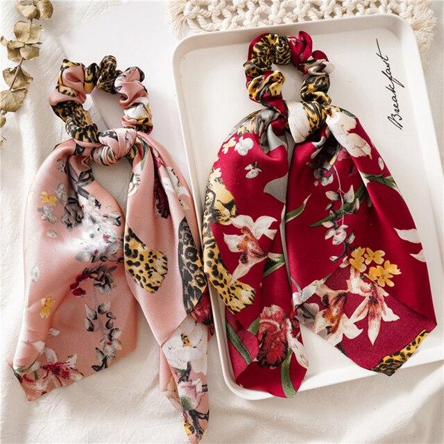 Vintage Floral Print Scrunchie Women Hair Bands Elastic Bohemian Hairband Bow Hair Rubber Ropes Girls Hair Ties Hair Accessories