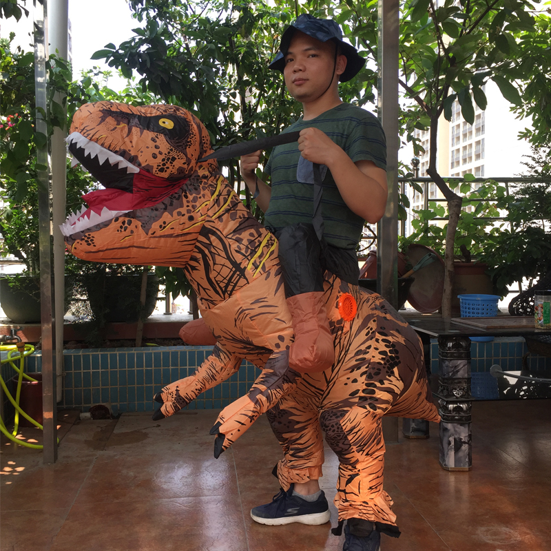 Cosplay Feminino Dragon t rex Dino Rider Suit T-Rex Costume Purim Adult Men Halloween Inflatable Dinosaur Costume For Kids Women (3)