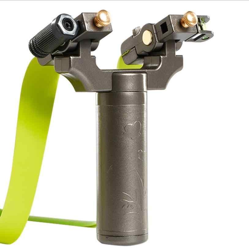 Di trasporto del nuovo Piano di Gomma Band Slingshot Outdoor Hunting High Tiro di Precisione del Punto del Laser Fionde Catapulta Testa Ruotato di 360 gradi