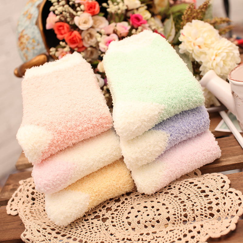 Winter Warm Thicken Coral Fleece Fluffy Solid Color Sleep Bed Socks 2018 New Hot Sale Price