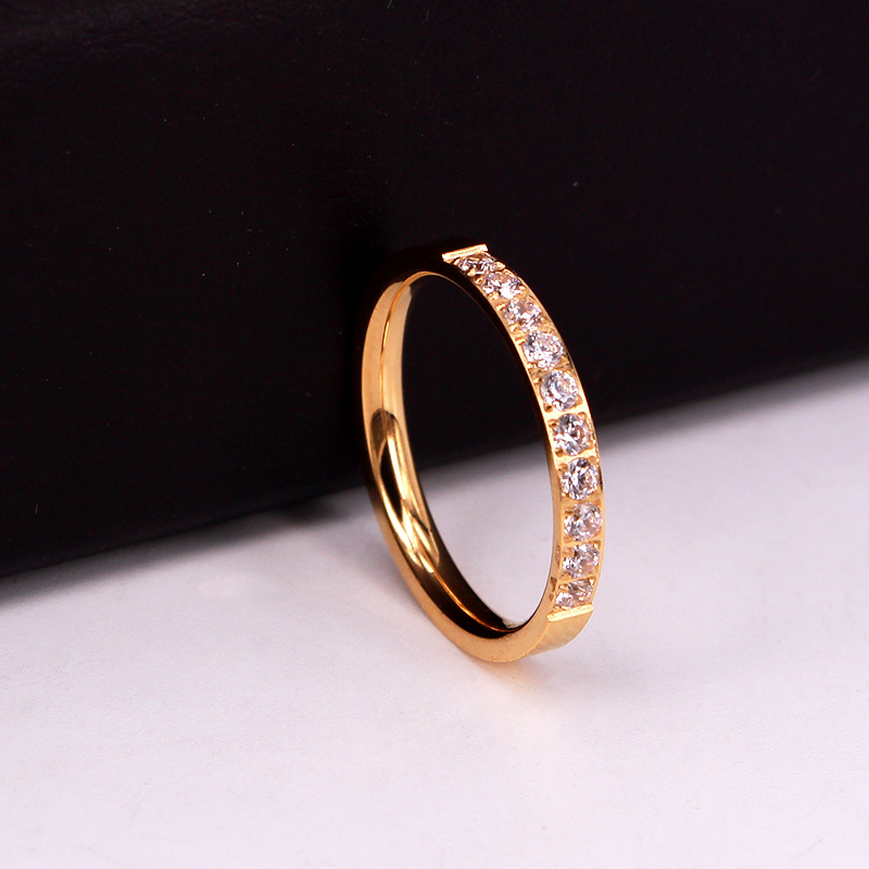 Top Quality Fashion Jewelry Crystal Wedding Rings Stainless Steel Rose Gold Color Female Ring For Woman And Girl Best Gift 2