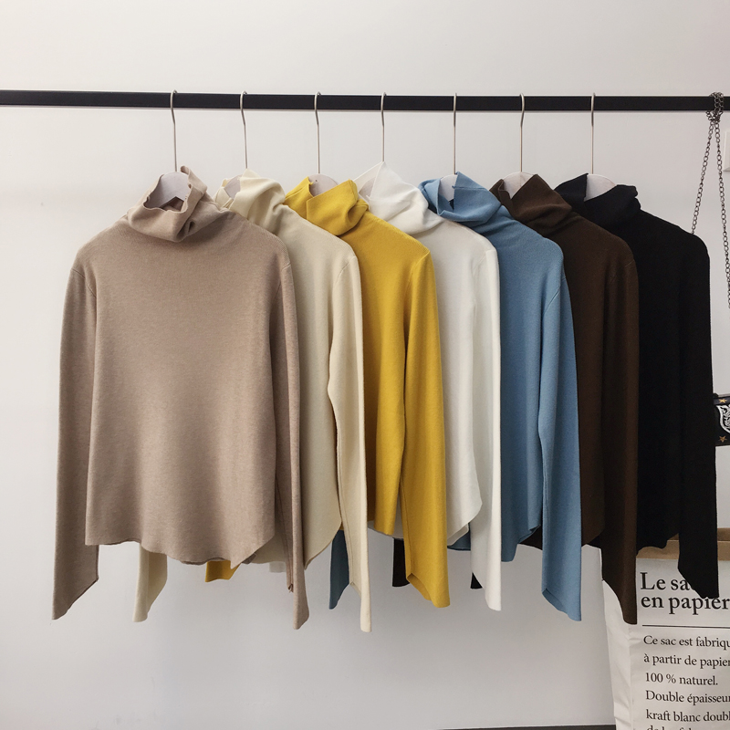 Flat Knit Jumper Autumn Winter Pile Collar Women Pullover Sweaters Turtleneck Long Sleeve Elegant Pull