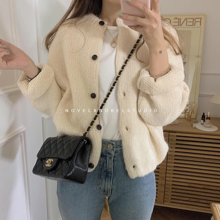 New Oversize Women's Sweaters Autumn Winter Sweater  Vintage Buttons O Neck Cardigans Single Breasted Puff Sleeve Loose Cardigan