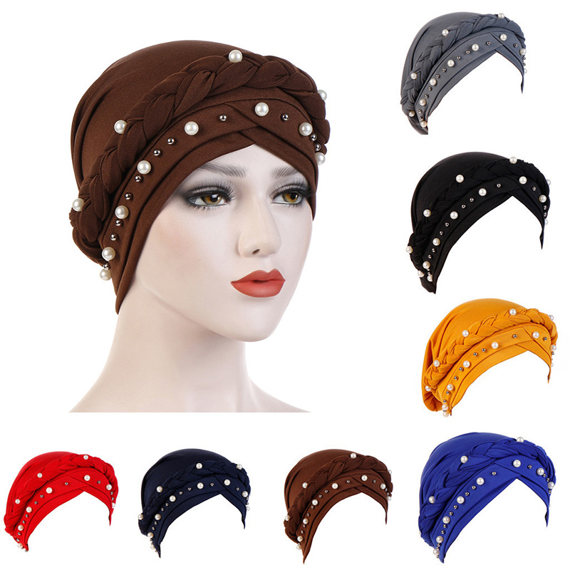 Hijab African Style Headwear Cap Women Muslim Turban Soft Chemo Cap Headwrap Beads Braid Islamic India Cap Women Muslim Hijab