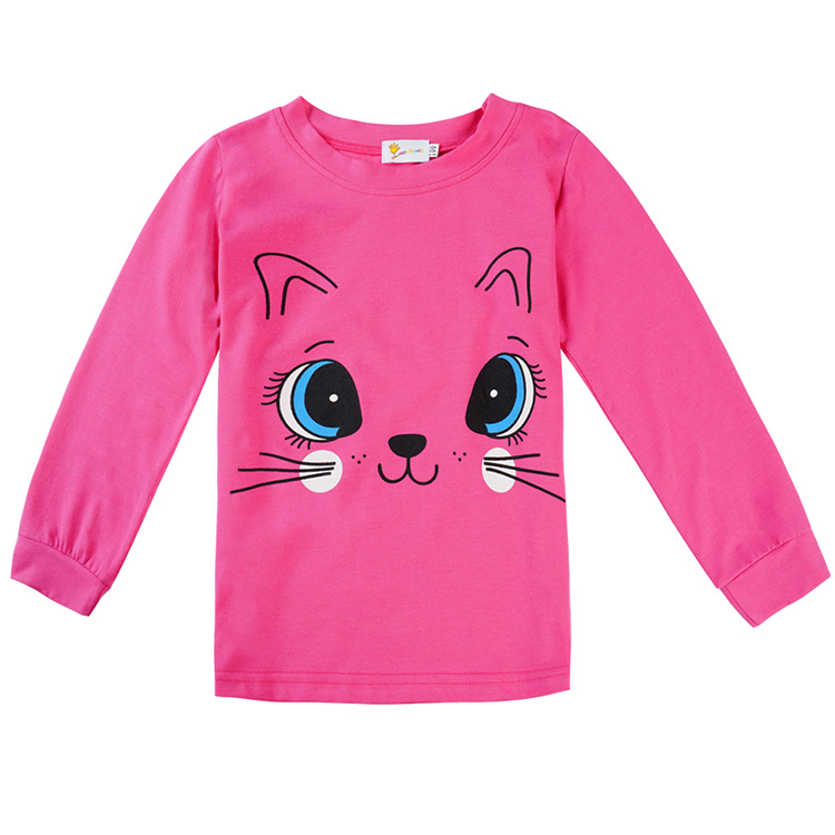 Autumn And Winter New Style Cute Cat Printed CHILDREN'S Pajamas Europe And America Pure Cotton Long Sleeve Tracksuit CHILDREN'S