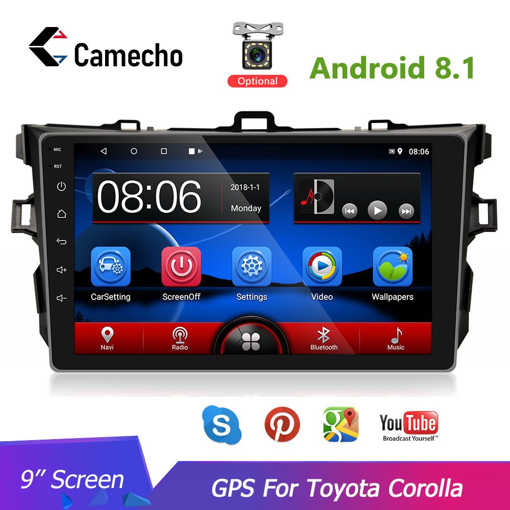 Camecho 2din 9'' HD Android 8.1 Car <font><b>Multimedia</b></font> player GPS Navigation Audio For 2006 2007 2008 2009 2010 <font><b>2011</b></font> 2012 <font><b>Toyota</b></font> <font><b>Corolla</b></font> image