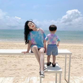 2020 lato nowa siateczkowa celebrity rodziców i dzieci odzież dziecięca matka i córka lato moda lato marynarka strój obcy styl tanie i dobre opinie Koszulki Aktywny Krótki Pasuje prawda na wymiar weź swój normalny rozmiar COTTON Zwierząt Y927
