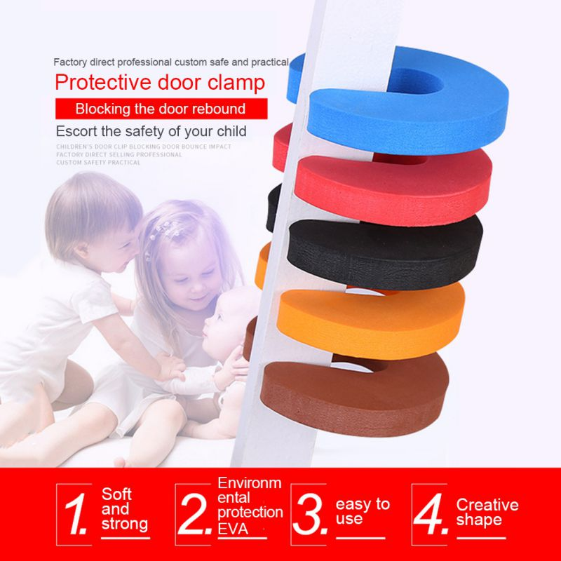 4PCS  C Shaped Foam Door Stoppers Baby Safety Finger Pinch Guard Prevent Door Injuries For Kids Or Pets