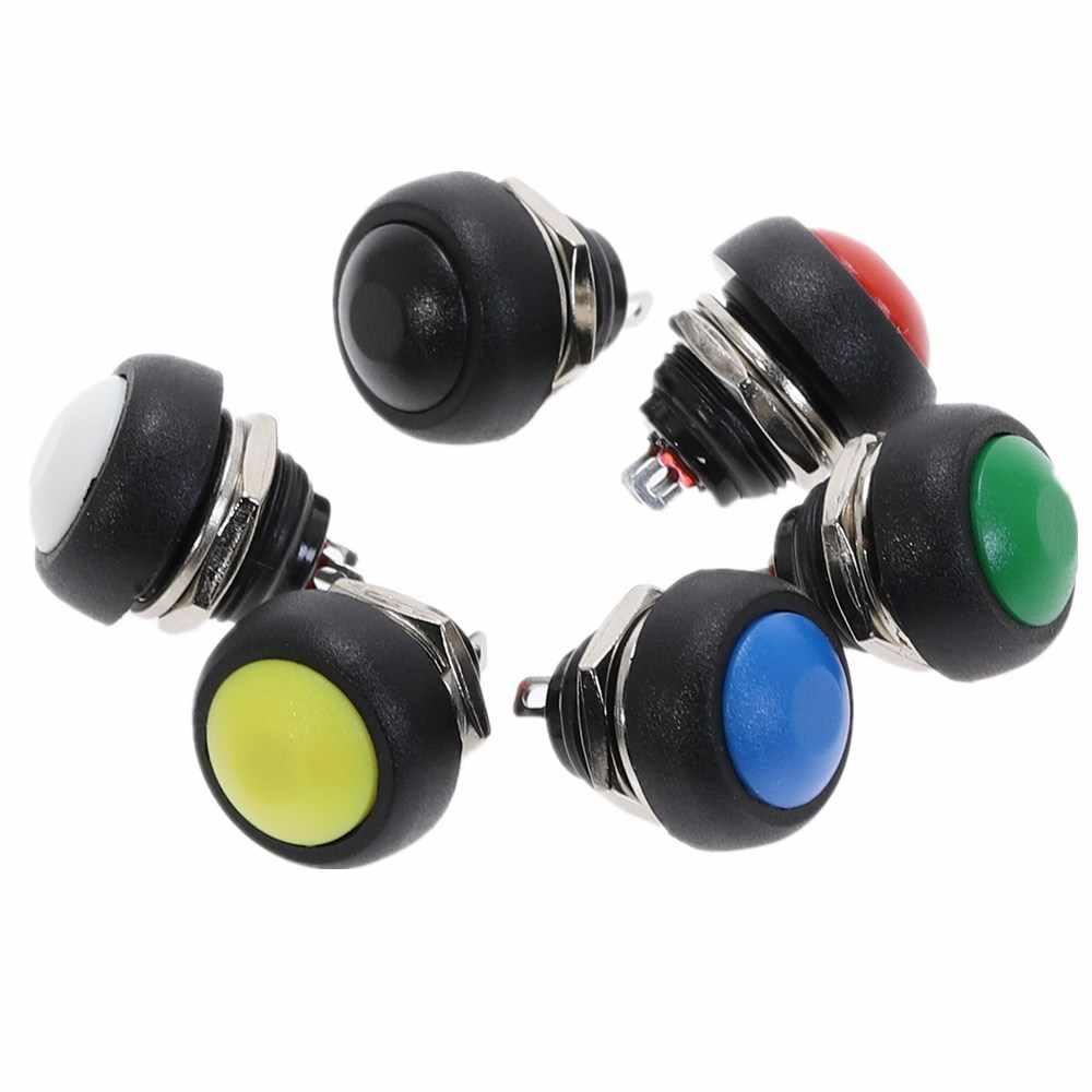 PBS-33B On-Off 2Pin 12 Mm Tahan Air Sesaat Push Button Switch SPDT 125V 3A Hitam/Merah/ hijau/Kuning/Biru