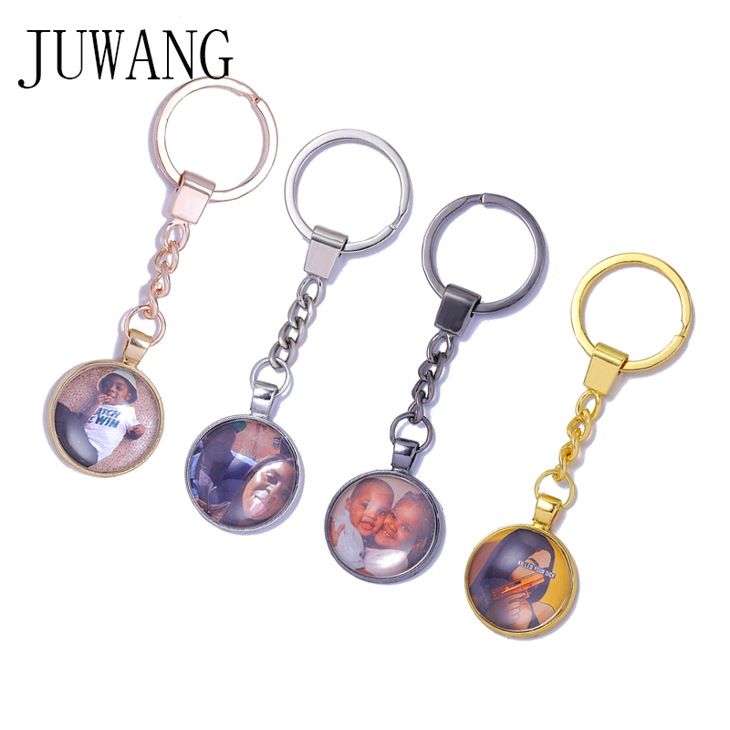 JUWANG Personalized Custom Photos Keychains Handmade DIY Customized Family Lovers Baby Key Chains Key Rings Holders For Gifts